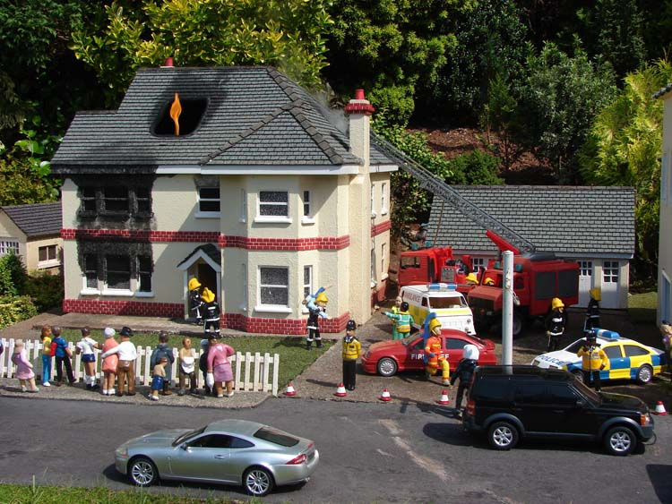 House on fire at the Model Village